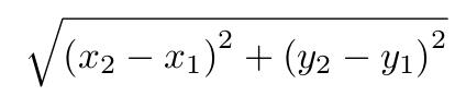 Formule distance euclidienne