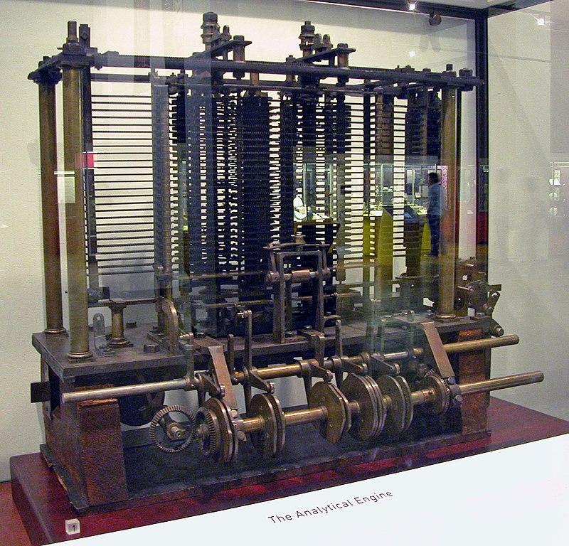 Modèle d'essai d'une partie de la machine analytique, construit par Charles Babbage, exposée au Science Museum de Londres.