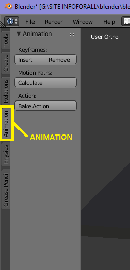 Onglet Animation de la boîte à outils