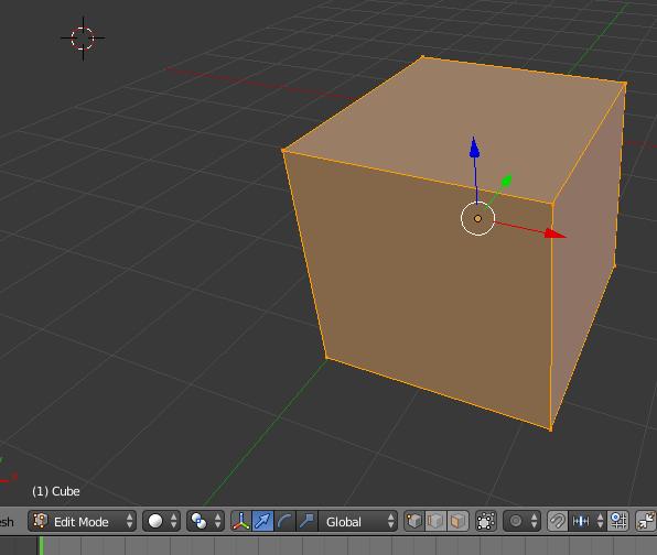 Cube entièrement sélectionné en mode EDIT