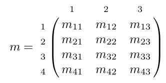 matrice d'entiers avec indices