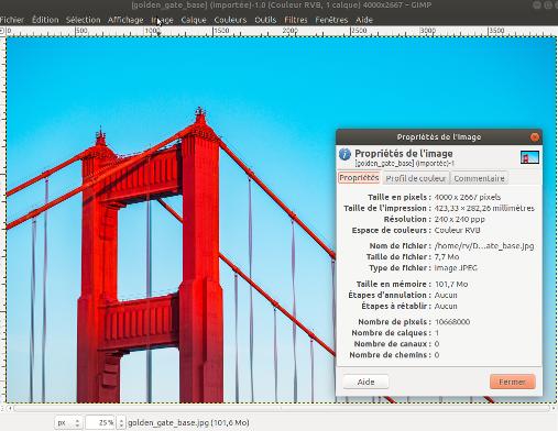 Taille dans GIMP