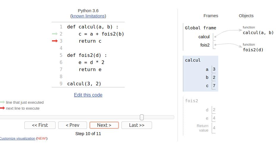 visualisation des variables et des espaces des noms