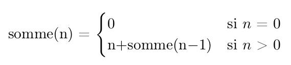 Définition récursive de la somme des entiers