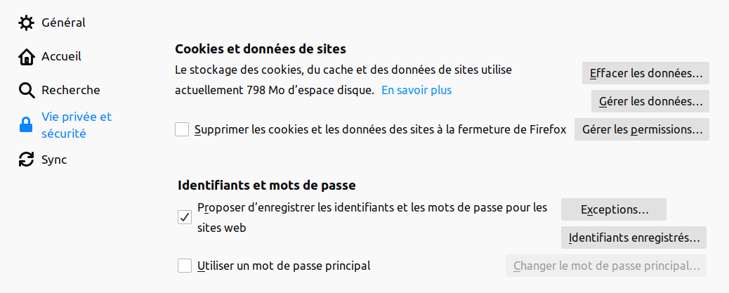 Gestion Cookies Firefox