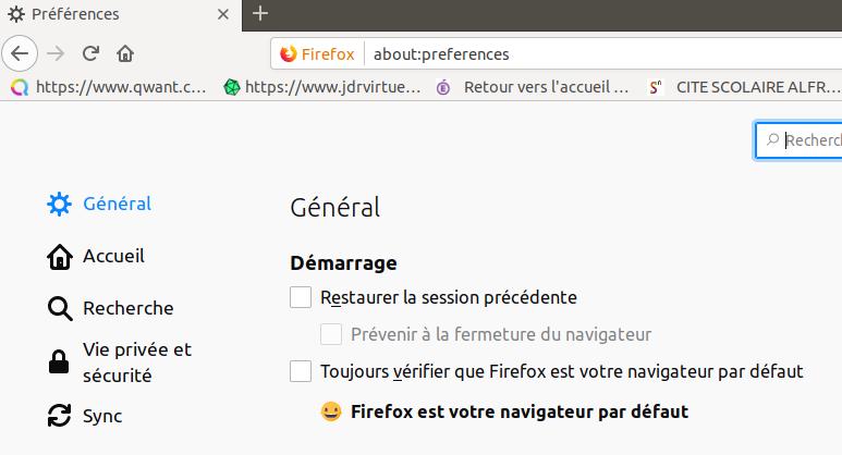 Préférences Firefox