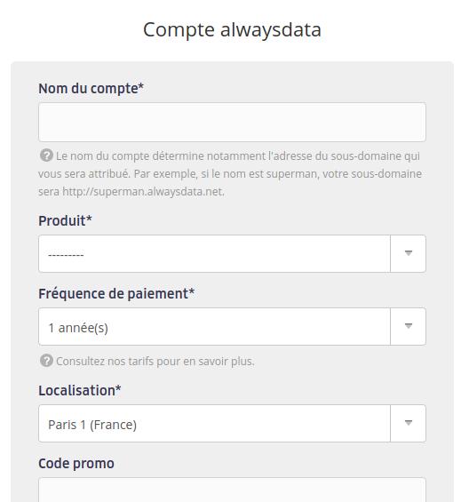 Info compte Alwaysdata