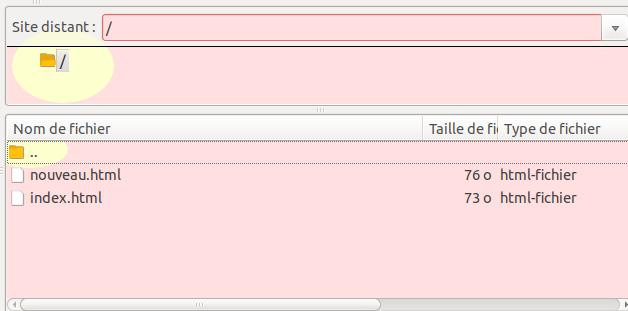 Vue du serveur depuis FileZilla
